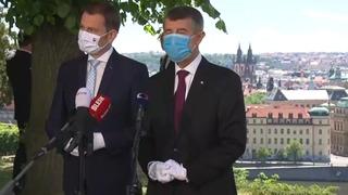 Andrej Babiš společně se slovenským premiérem Igorem Matovičem
