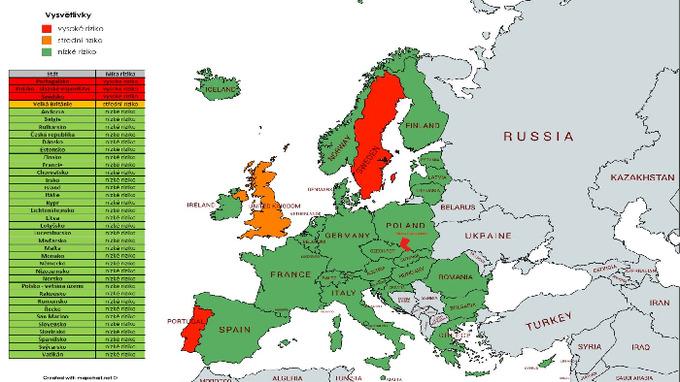 Mapa zemí rozdělena podle takzvaného semaforu.