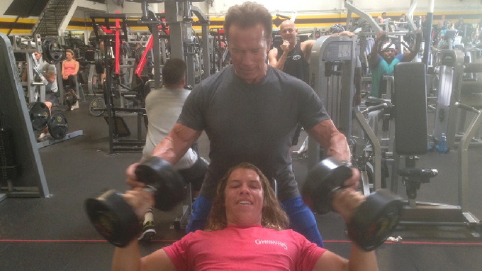 Arnold Schwarzenegger se synem Josephem