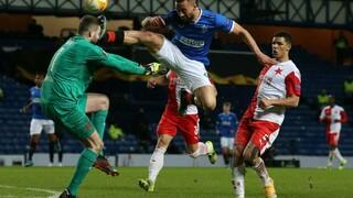 Utkání Glasgow Rangers versus Slavia Praha