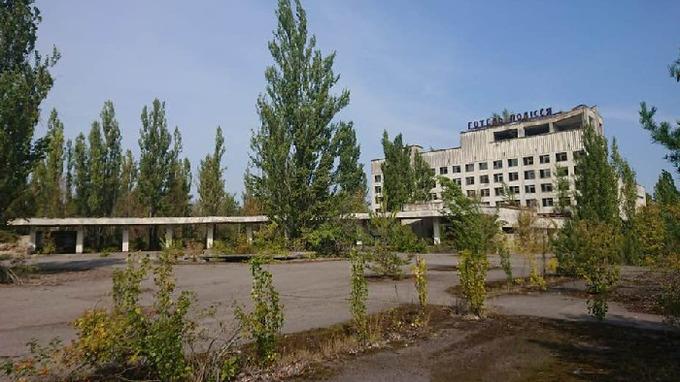 Okolí jaderné elektrárny v Kyjevské oblasti na severu Ukrajiny