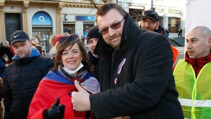 Lubomír Volný na demonstraci