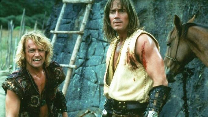 Michael Hurst (vlevo) s Kevinem Sorbem v seriálu Herkules